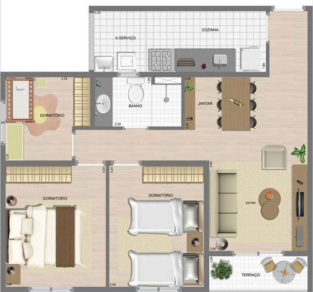 Planta:  | Mérito Santo André - Apartamento na Vila Homero Thon  - Santo André SP