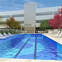 Perspectiva ilustrada da piscina adulto com deck molhado, solarium e bar da piscina