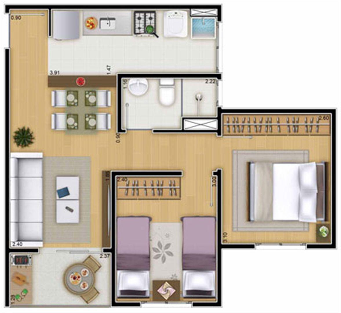 Planta:  | Mais Campos Salles - Apartamento no Jardim Jurema - Valinhos São Paulo