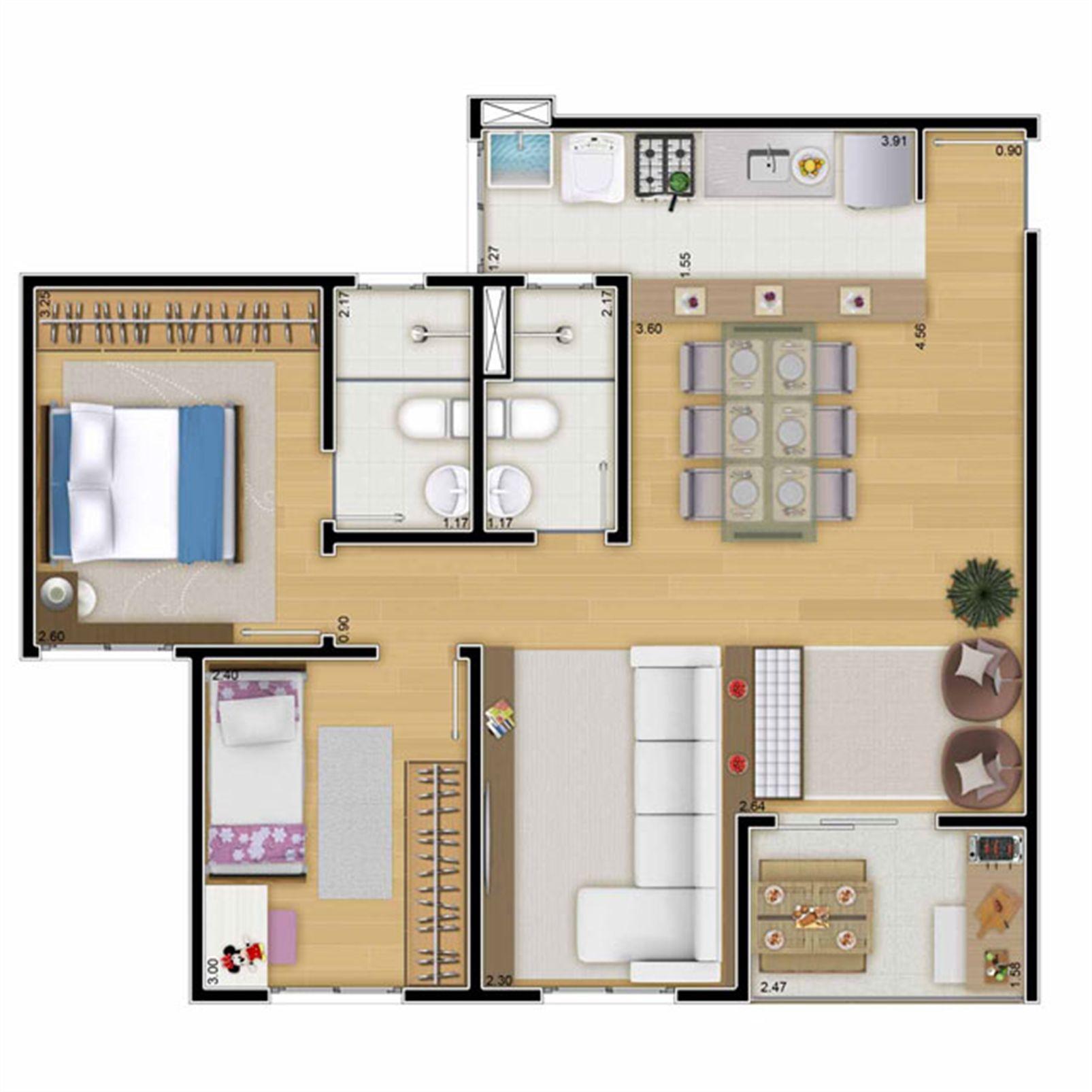 Planta:  | Mais Campos Salles - Apartamento no Jardim Jurema - Valinhos SP