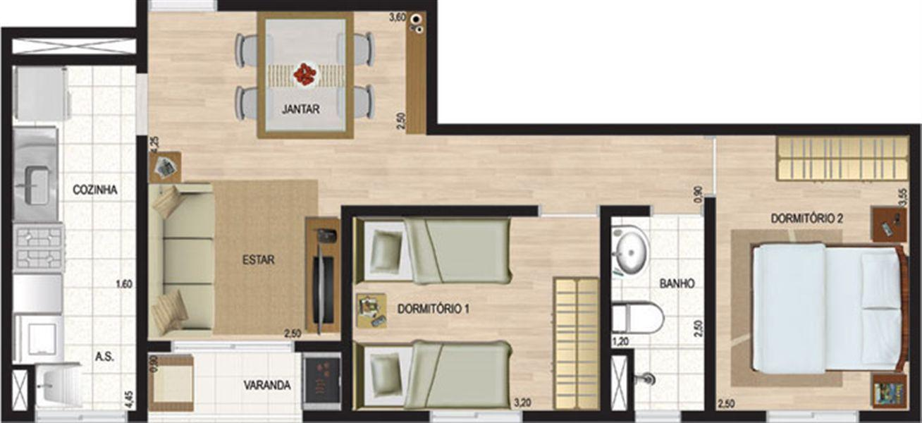 Planta:  | Liber Condomínio Resort - fase 2 - Apartamento no Jardim República - Ribeirão Preto São Paulo