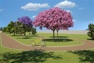 Perspectiva ilustrada da pista de bike