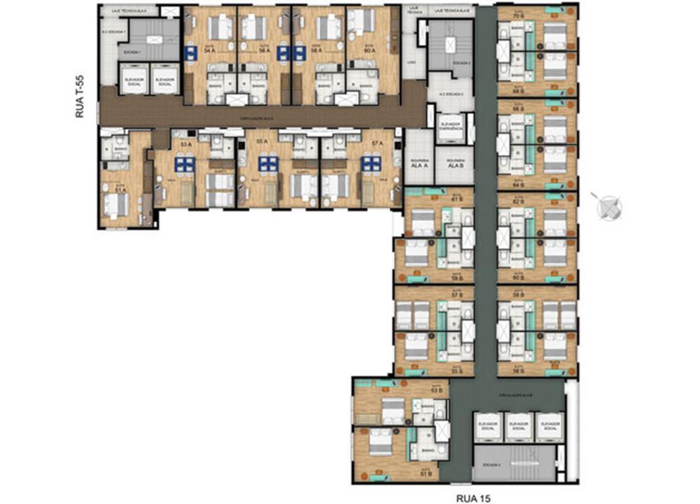 Planta Pavimento Tipo 4º ao 10º | Blend - HotelStyle – Apartamentono  Setor Marista - Goiânia - Goiás