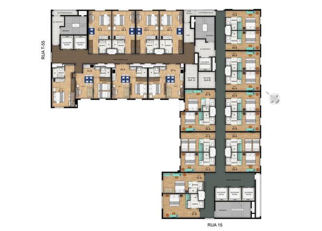 Planta Pavimento Tipo 11 ao 15º | Blend - HotelStyle – Apartamento no  Setor Marista - Goiânia - Goiás