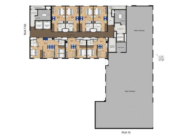 Planta 21º Pavimento | Blend - HotelStyle – Apartamento no  Setor Marista - Goiânia - Goiás