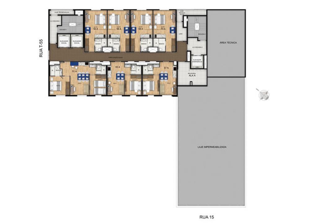 Planta 23º Pavimento | Blend - HotelStyle – Apartamentono  Setor Marista - Goiânia - Goiás