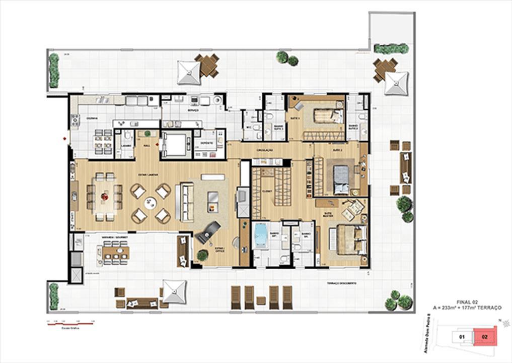 PLANTA TIPO GARDEN | Dom Batel – Apartamentono  Batel - Curitiba - Paraná