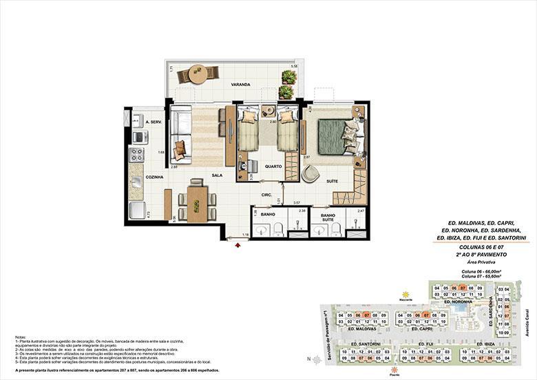 Planta AP07 | Ocean Pontal Residence – Apartamento no  Recreio dos Bandeirantes - Rio de Janeiro - Rio de Janeiro