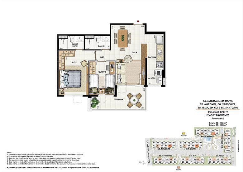 Planta AP11 | Ocean Pontal Residence – Apartamento no  Recreio dos Bandeirantes - Rio de Janeiro - Rio de Janeiro