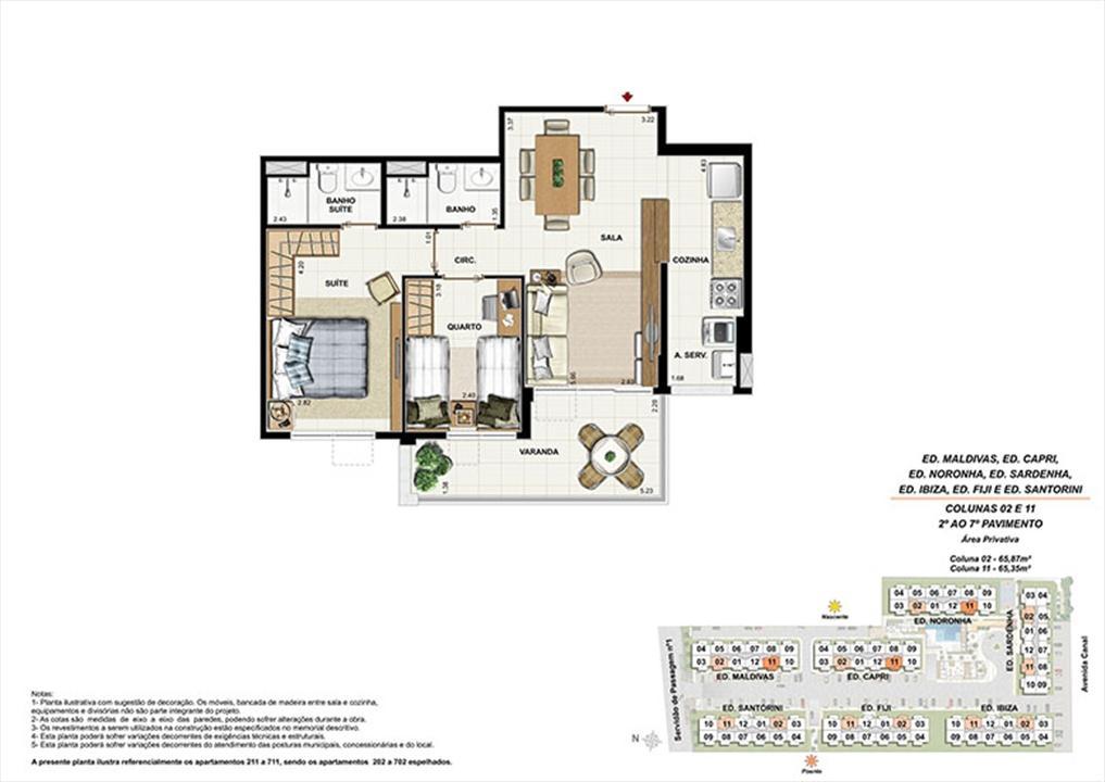 Planta AP11 | Ocean Pontal Residence – Apartamentono  Recreio dos Bandeirantes - Rio de Janeiro - Rio de Janeiro