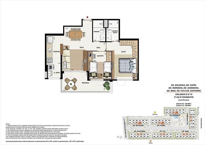 Planta AP12 | Ocean Pontal Residence – Apartamento no  Recreio dos Bandeirantes - Rio de Janeiro - Rio de Janeiro