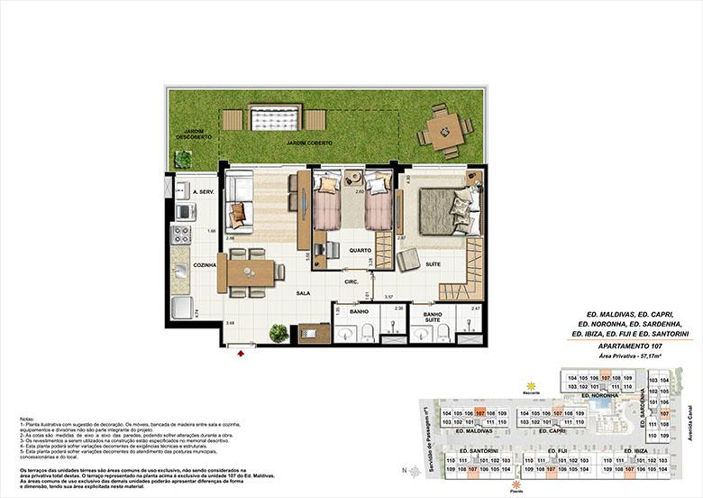 Planta AP107 | Ocean Pontal Residence – Apartamento no  Recreio dos Bandeirantes - Rio de Janeiro - Rio de Janeiro