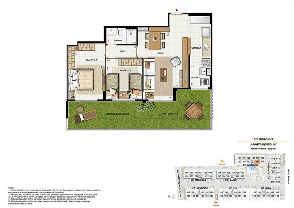 Planta AP111 | Ocean Pontal Residence – Apartamentono  Recreio dos Bandeirantes - Rio de Janeiro - Rio de Janeiro