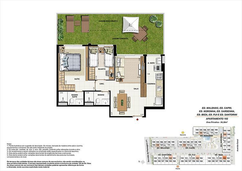 Planta AP102 | Ocean Pontal Residence – Apartamento no  Recreio dos Bandeirantes - Rio de Janeiro - Rio de Janeiro