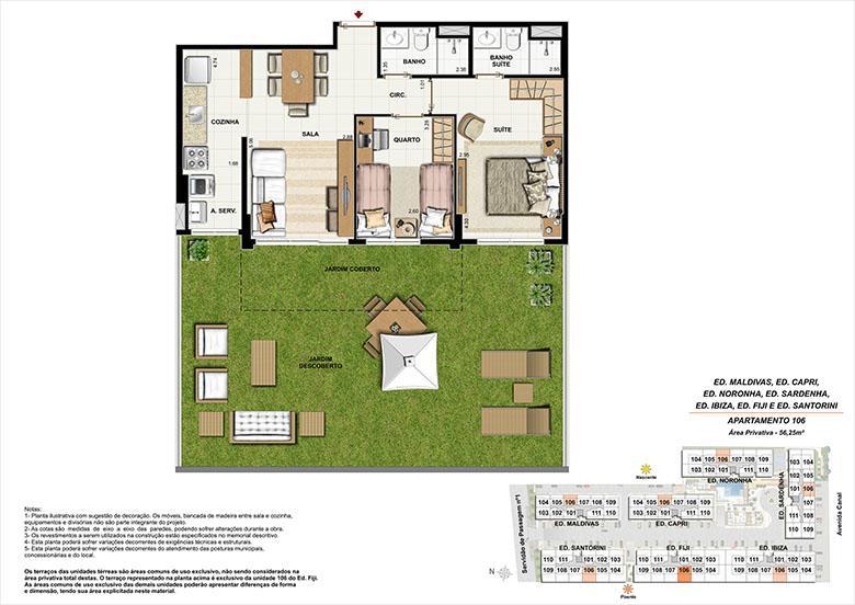 Planta AP106 | Ocean Pontal Residence – Apartamento no  Recreio dos Bandeirantes - Rio de Janeiro - Rio de Janeiro