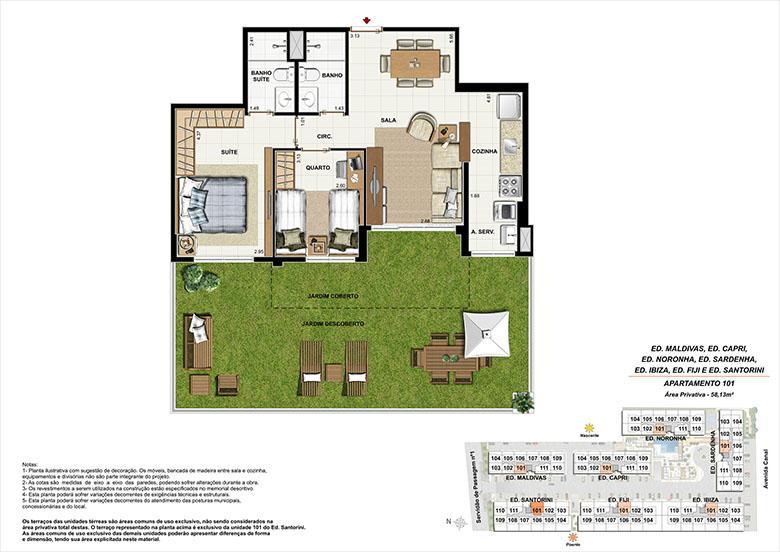 Planta AP101 | Ocean Pontal Residence – Apartamento no  Recreio dos Bandeirantes - Rio de Janeiro - Rio de Janeiro