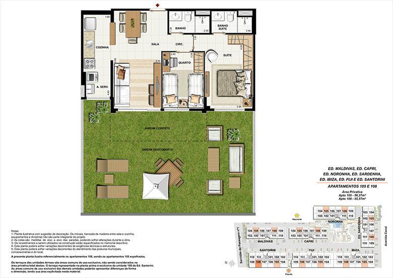Planta AP105 | Ocean Pontal Residence – Apartamento no  Recreio dos Bandeirantes - Rio de Janeiro - Rio de Janeiro