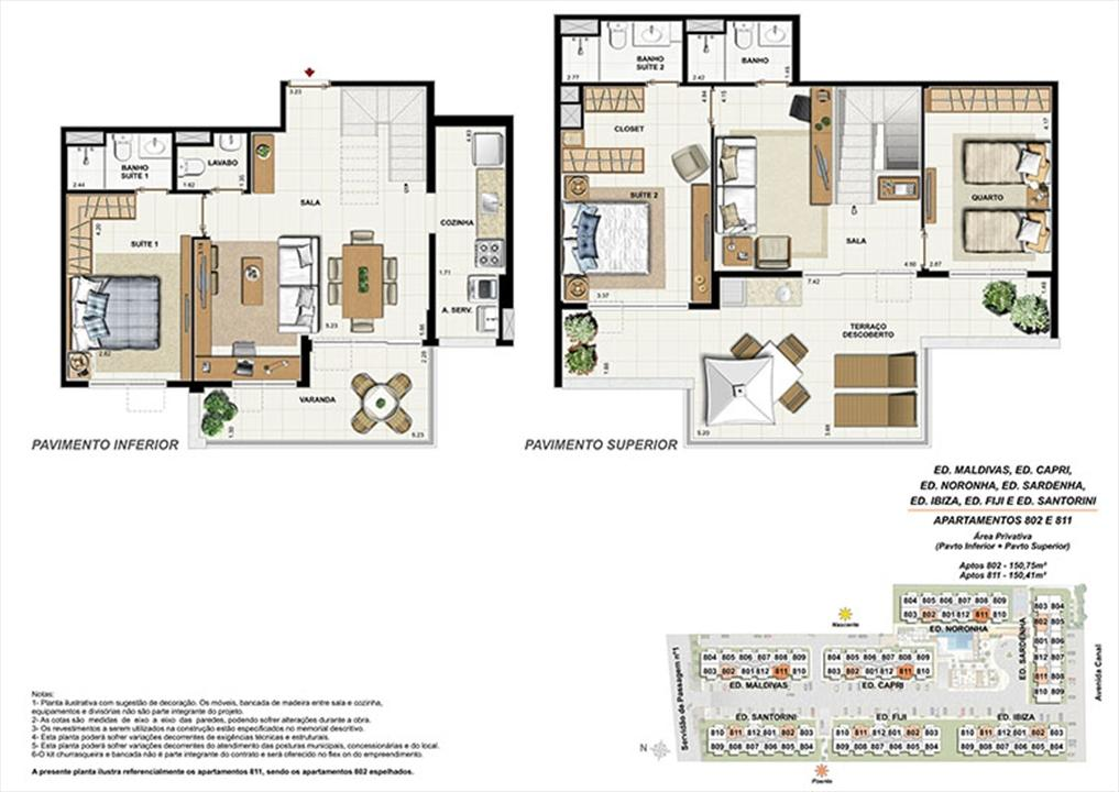 Planta CB11 | Ocean Pontal Residence – Apartamentono  Recreio dos Bandeirantes - Rio de Janeiro - Rio de Janeiro