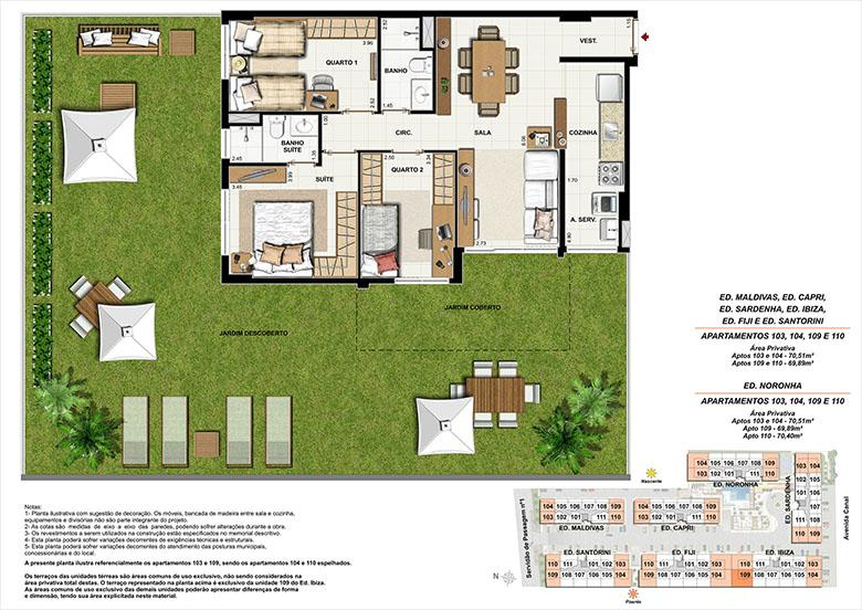 Planta AP109 | Ocean Pontal Residence – Apartamento no  Recreio dos Bandeirantes - Rio de Janeiro - Rio de Janeiro