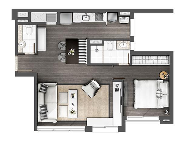Apartamento 1D 60m² Living estendido | Axis - Home – Apartamento no  Altos de Petrópolis - Porto Alegre - Rio Grande do Sul