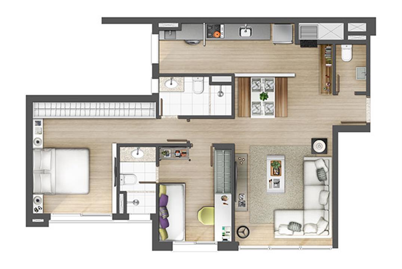 Apartamento 2 suítes 80m² | Axis - Home – Apartamentono  Altos de Petrópolis - Porto Alegre - Rio Grande do Sul