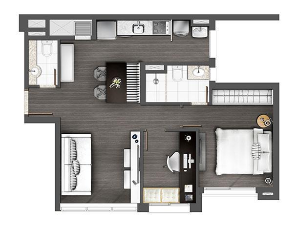 Apartamento 60m² 1D | Axis - Home – Apartamento no  Altos de Petrópolis - Porto Alegre - Rio Grande do Sul