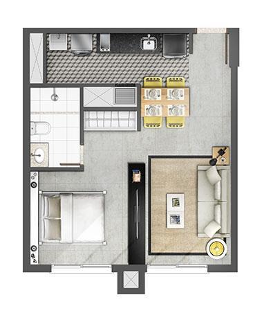 Estudio 45m² | Axis - Home – Apartamento no  Altos de Petrópolis - Porto Alegre - Rio Grande do Sul