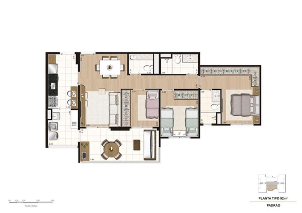 Planta tipo do apartamento de 92 m² - 3 dorms (1 suíte) | Mïstï Morumbi – Apartamentono  Morumbi - São Paulo - São Paulo