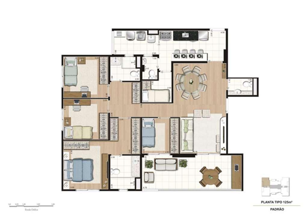 Planta tipo do apartamento de 125 m² - 4 dorms (1 suíte) | Mïstï Morumbi – Apartamentono  Morumbi - São Paulo - São Paulo
