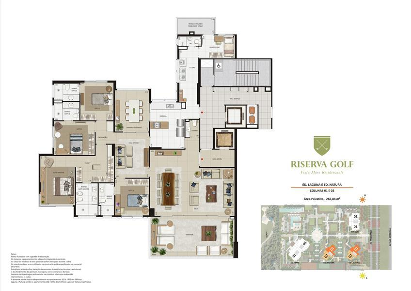 Planta:  | Riserva Golf Vista Mare Residenziale - Apartamento na Barra da Tijuca - Rio de Janeiro RJ