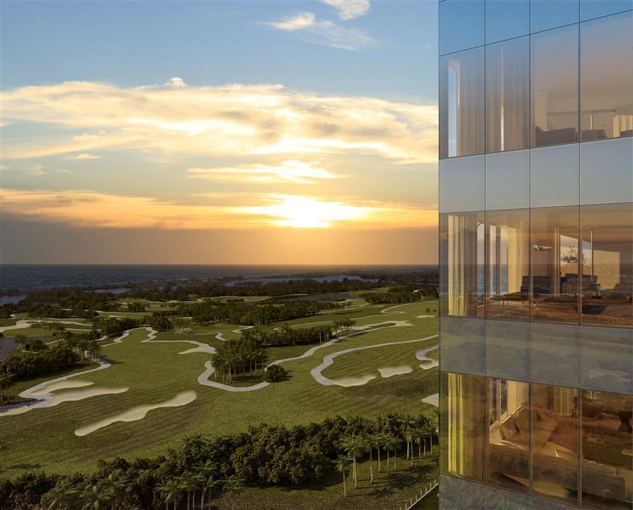 Fotomontagem da Sala Mirante do Ed. Mare com Vista para o Futuro Campo de Golfe Olímpico