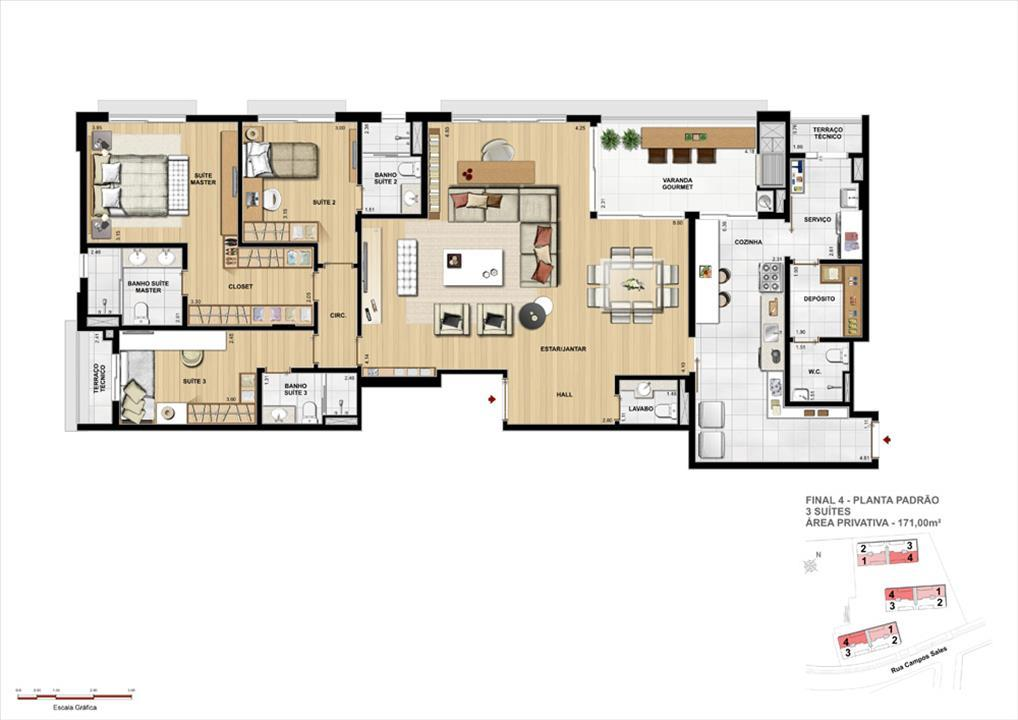 Opção de planta: 3 Suítes 171m² | Grand Vert – Apartamentono  Juvevê - Curitiba - Paraná
