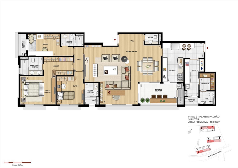 Opção de planta: 3 Suítes Padrão   168m² | Grand Vert – Apartamento no  Juvevê - Curitiba - Paraná