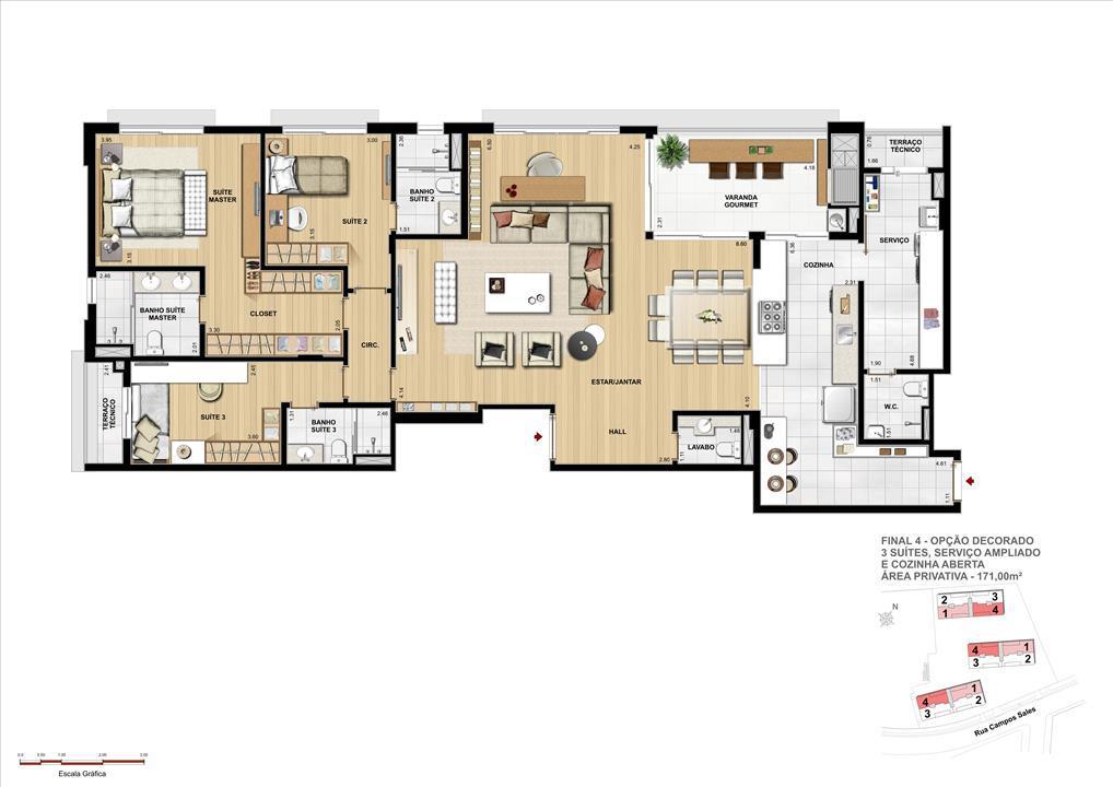 PLANTA OPÇÃO DECORADO - 3 SUÍTES - 171 M² PRIVATIVOS COM ATÉ 329 M² DE ÁREA TOTAL | Grand Vert – Apartamentono  Juvevê - Curitiba - Paraná
