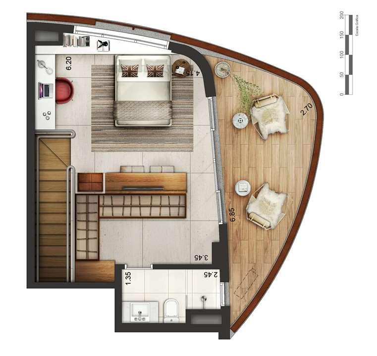 Apartamento tipo 1 - Duplex superior P2 | Cyrela by Pininfarina – Apartamentona  Vila Olímpia - São Paulo - São Paulo