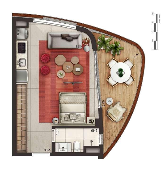 Apartamento tipo 1 - layout A P4 | Cyrela by Pininfarina – Apartamentona  Vila Olímpia - São Paulo - São Paulo
