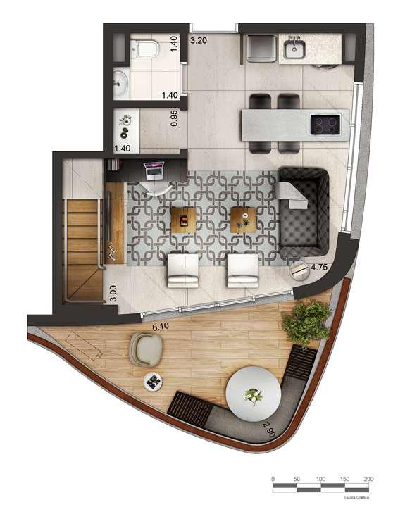 Apartamento tipo 2 - Duplex inferior P2 | Cyrela by Pininfarina – Apartamentona  Vila Olímpia - São Paulo - São Paulo