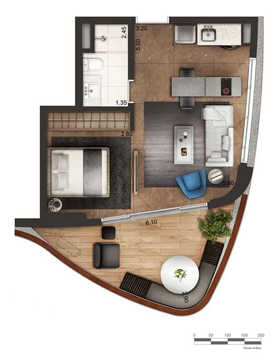 Apartamento tipo 2 - layout A P3 | Cyrela by Pininfarina – Apartamentona  Vila Olímpia - São Paulo - São Paulo