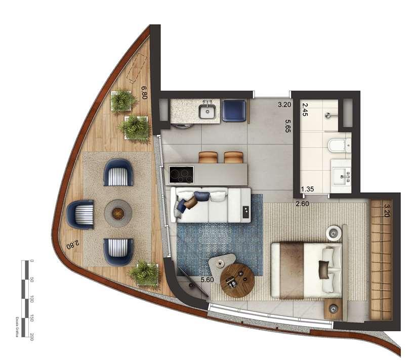 Apartamento tipo 3 - layout A P3 | Cyrela by Pininfarina – Apartamentona  Vila Olímpia - São Paulo - São Paulo