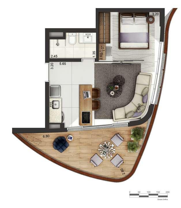 Apartamento tipo 3 - layout B P4 | Cyrela by Pininfarina – Apartamentona  Vila Olímpia - São Paulo - São Paulo