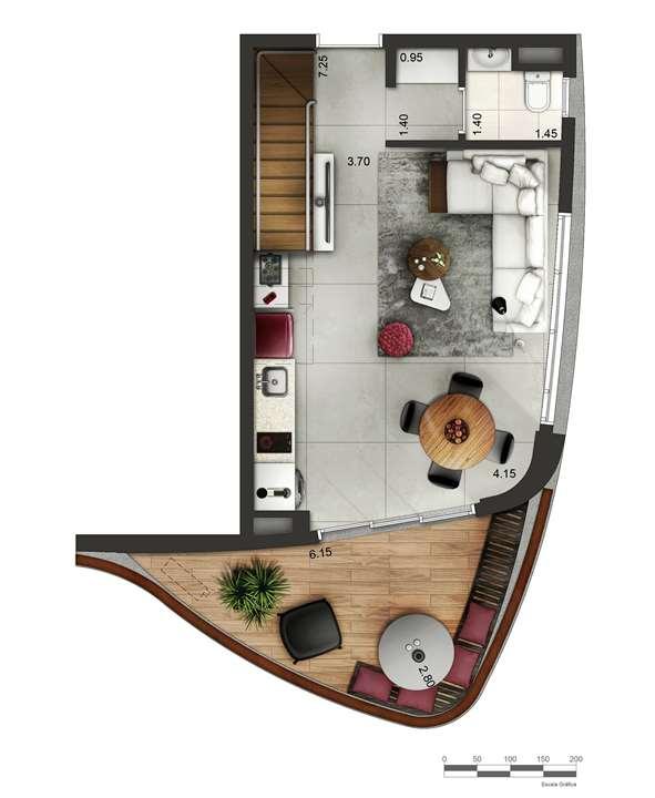Apartamento tipo 4 - Duplex inferior P2 | Cyrela by Pininfarina – Apartamentona  Vila Olímpia - São Paulo - São Paulo