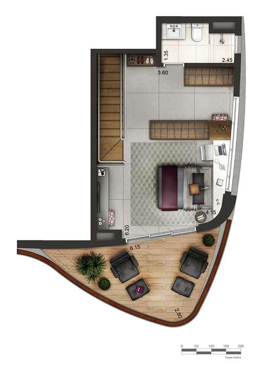 Apartamento tipo 4 - Duplex superior P2 | Cyrela by Pininfarina – Apartamentona  Vila Olímpia - São Paulo - São Paulo