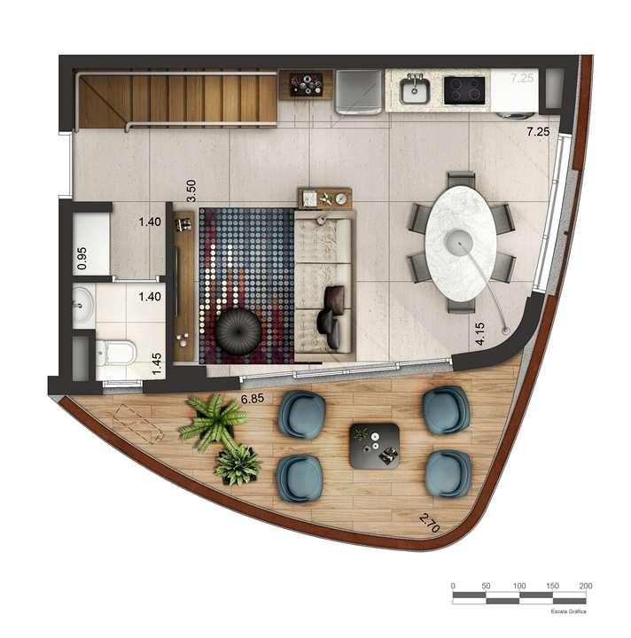Apartamento tipo 1 - Duplex inferior P3 | Cyrela by Pininfarina – Apartamentona  Vila Olímpia - São Paulo - São Paulo