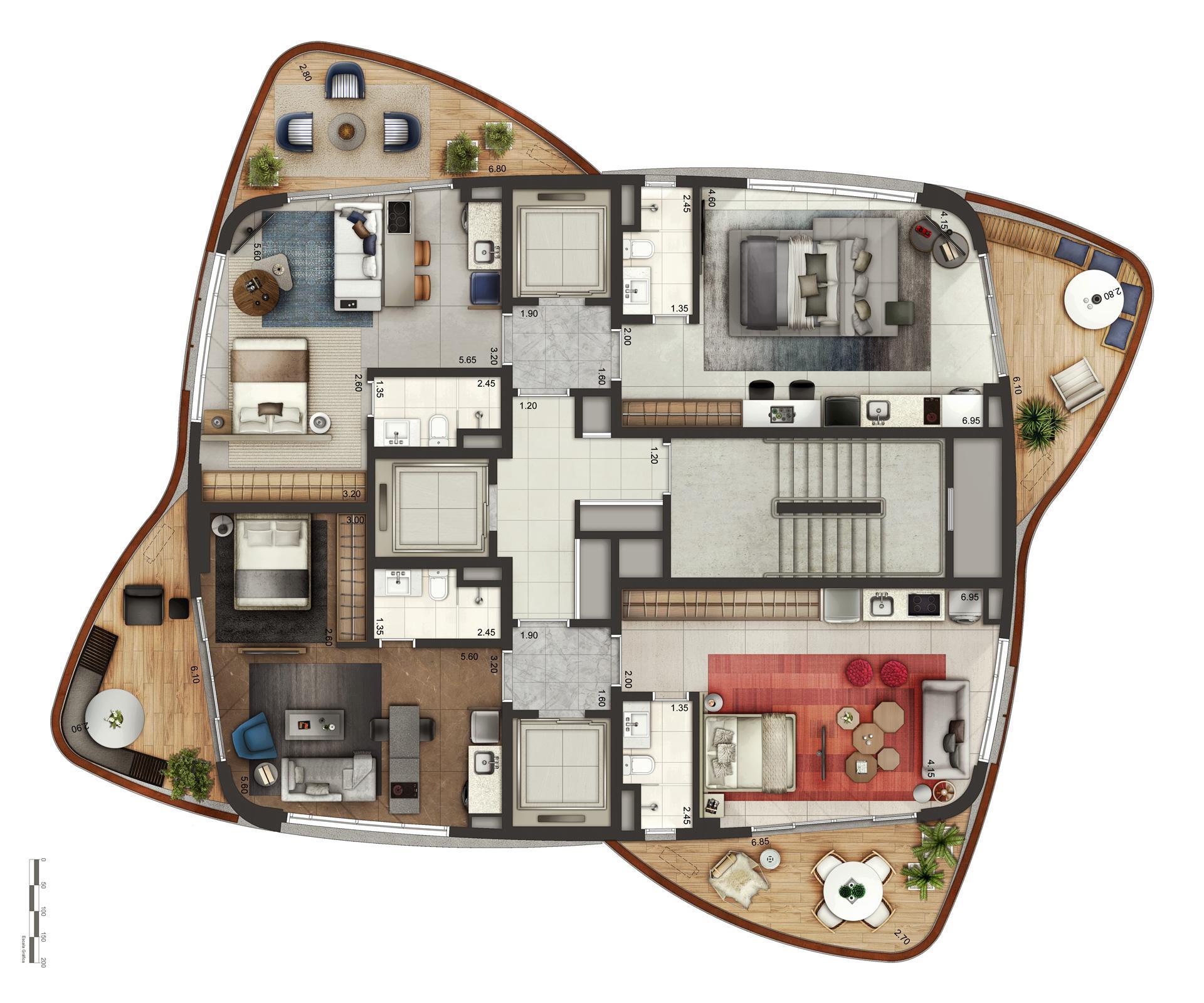 Perspectiva Ilustrada Do Pavimento Tipo | Cyrela by Pininfarina – Apartamento na  Vila Olímpia - São Paulo - São Paulo