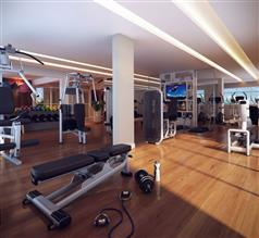 Ilustração Artística Fitness com Musculação, Espaço Aeróbico e Sala Multiuso do Verdant Club
