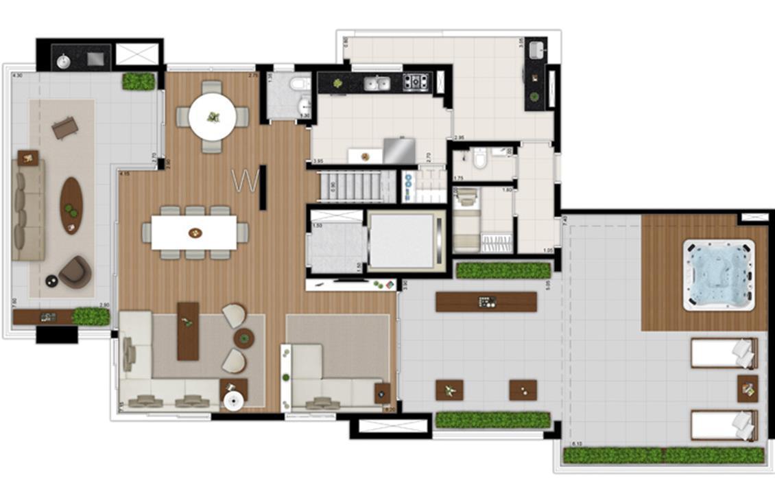 SKR Campo Belo Planta Duplex Inferior rotacionada | Tom 1102 – Apartamentono  Campo Belo - São Paulo - São Paulo