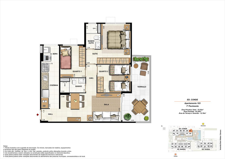 Ed. Conde   1º pavimento   Apartamento 103 de 75,53m2 com 01 suíte | NOBRE NORTE CLUBE RESIDENCIAL – Apartamento no  Grande Méier - Rio de Janeiro - Rio de Janeiro