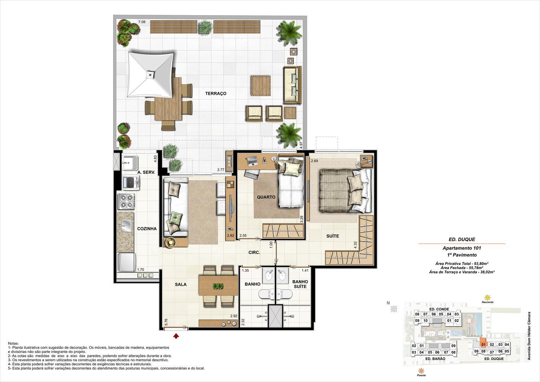 Ed. Duque   1º pavimento   Apartamento 101 de 93,80m2 com 01 suíte | NOBRE NORTE CLUBE RESIDENCIAL – Apartamento no  Grande Méier - Rio de Janeiro - Rio de Janeiro