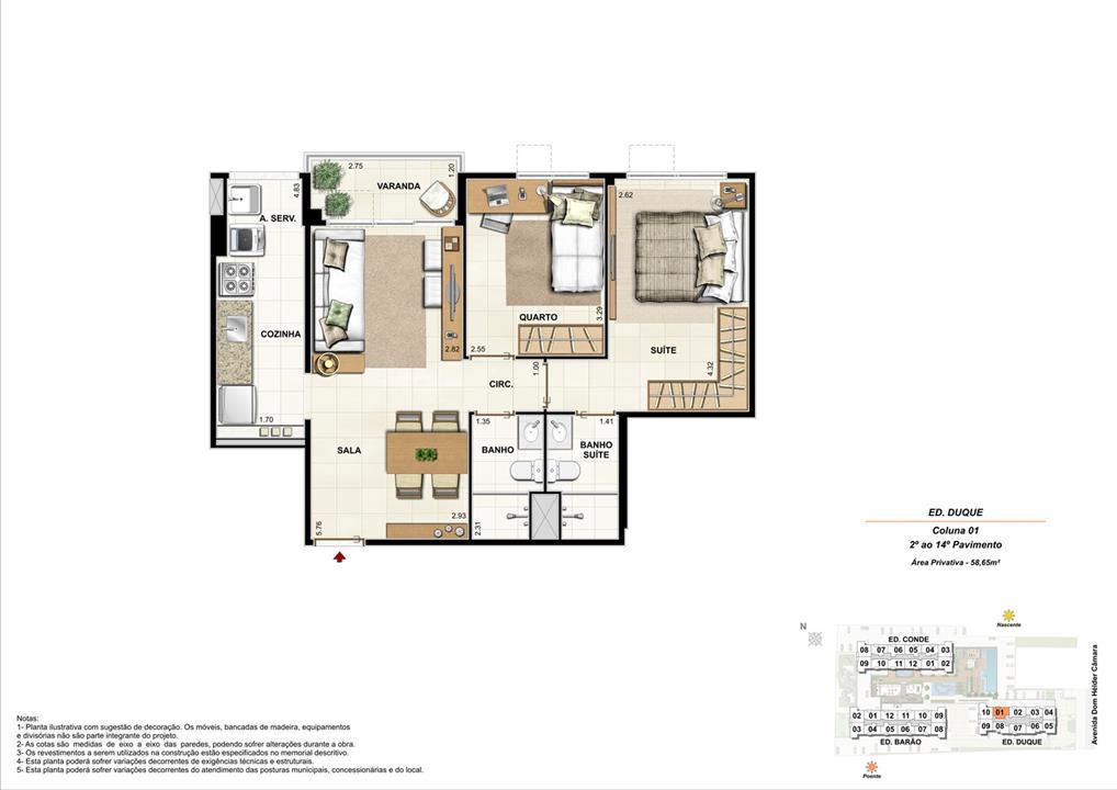 Ed. Duque   Coluna 1   Apartamento de 58,65m2 com 01 suíte | NOBRE NORTE CLUBE RESIDENCIAL – Apartamentono  Grande Méier - Rio de Janeiro - Rio de Janeiro