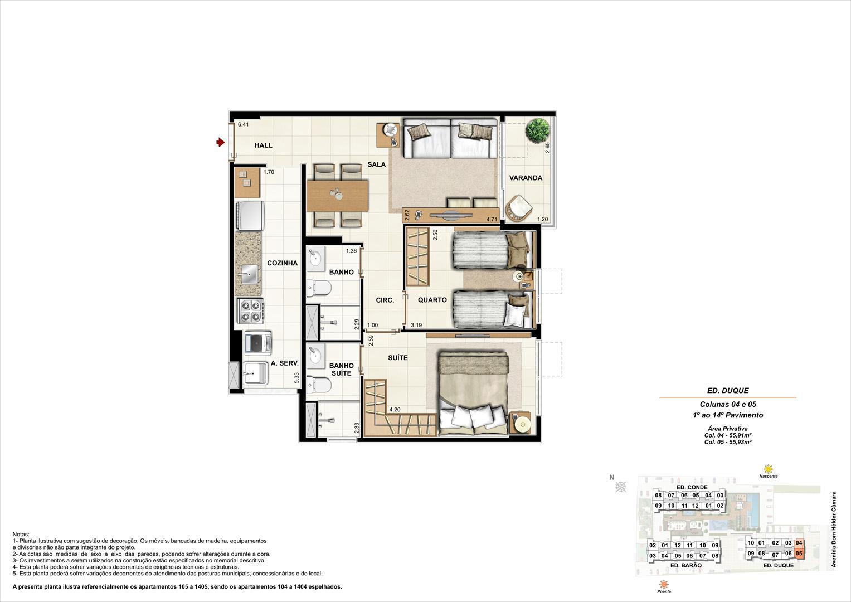 Ed. Duque   Coluna 4 e 5   Apartamento de 55,91m2 com 01 suíte | NOBRE NORTE CLUBE RESIDENCIAL – Apartamento no  Grande Méier - Rio de Janeiro - Rio de Janeiro